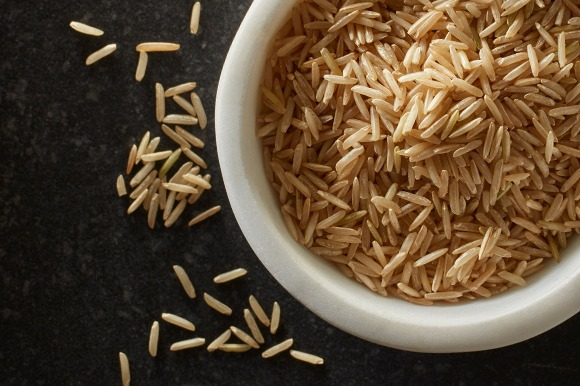 brown basmati rice in bowl overhead
