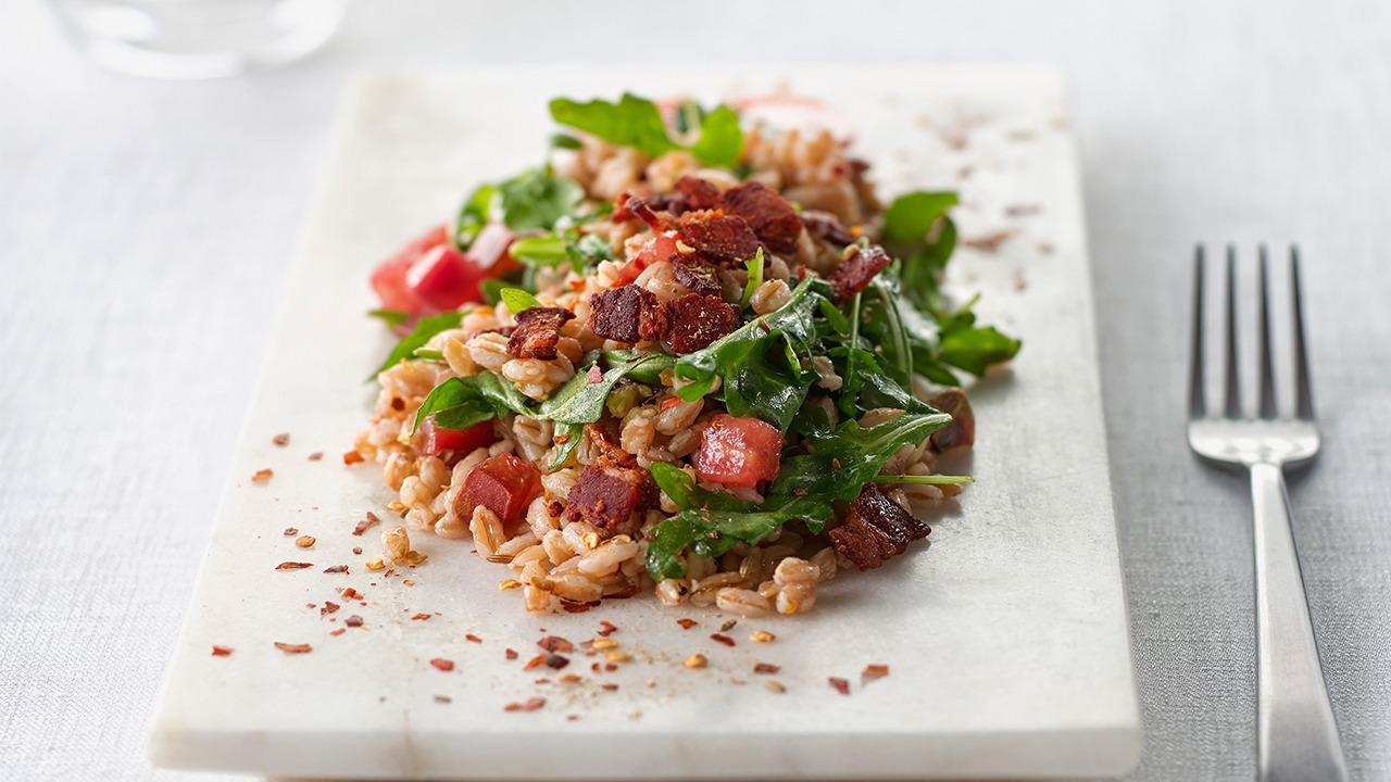 Spicy farro bacon and toasted fennel salad overhead
